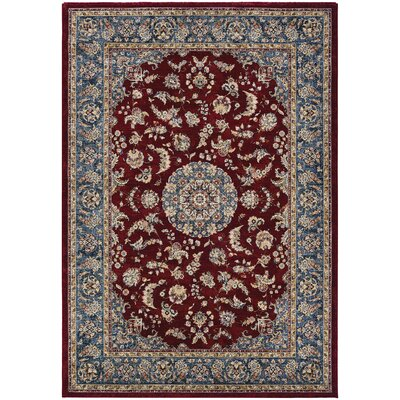 Grimaldo Medallion Bordeaux/Slate Area Rug Rug Size: Rectangle 53 x 76