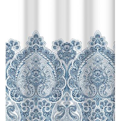 Bergin Damask Border Cotton Shower Curtain Color: Blue Silver