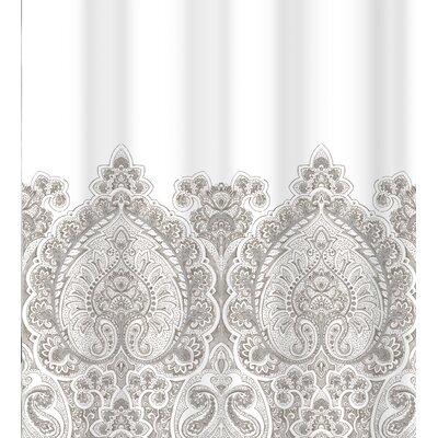 Bergin Damask Border Cotton Shower Curtain Color: Gray Silver