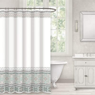 Berardi Seafoam Bloom Border Cotton Shower Curtain