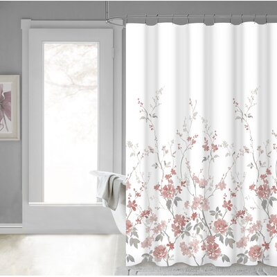 Eugen 100% Cotton Shower Curtain Color: Blush Silver