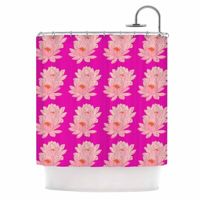 Stephanie Eden Water Lilies Bleu Canard Shower Curtain Color: Pink/Beige