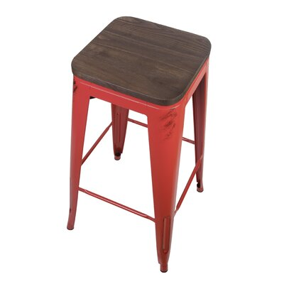 Calanthe 30 Bar Stool Frame Color: Antique Red, Seat Color: Dark Wood