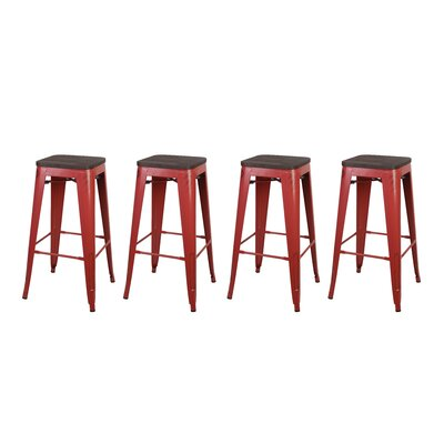 Calanthe 30 Bar Stool Frame Color: Antique Red, Seat Color: Black