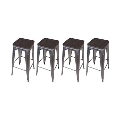 Calanthe 30 Bar Stool Frame Color: Gunmetal, Seat Color: Black