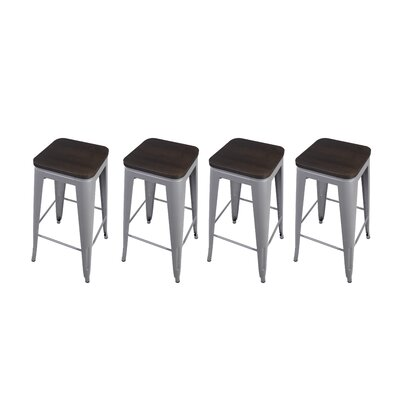 Calanthe 30 Bar Stool Frame Color: Gray, Seat Color: Dark Wood
