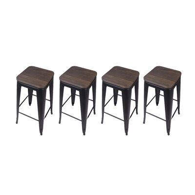 Calanthe 30 Bar Stool Frame Color: Black, Seat Color: Dark Wood