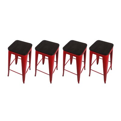 Calanthe 30 Bar Stool Frame Color: Red, Seat Color: Dark Wood