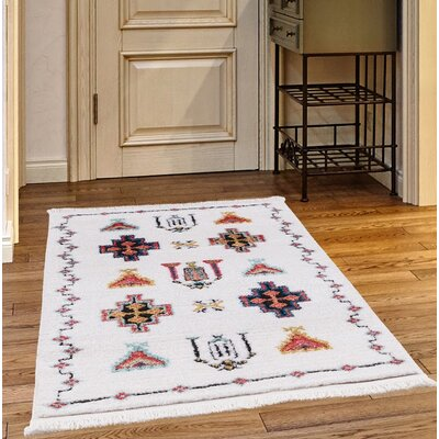 Rheba White Area Rug Rug Size: Rectangle 27 x 47