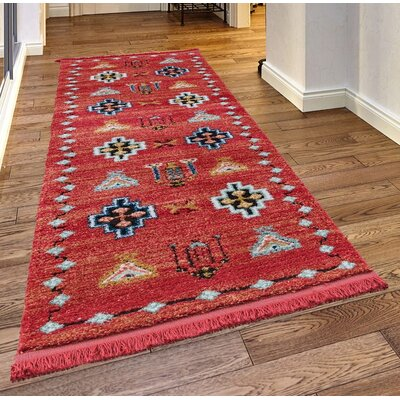 Rheba Red Area Rug Rug Size: Rectangle 23x 72