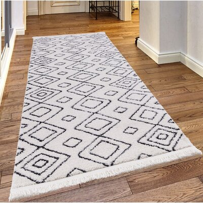 Pilcher White/Charcoal Area Rug Rug Size: Rectangle 39 x 52