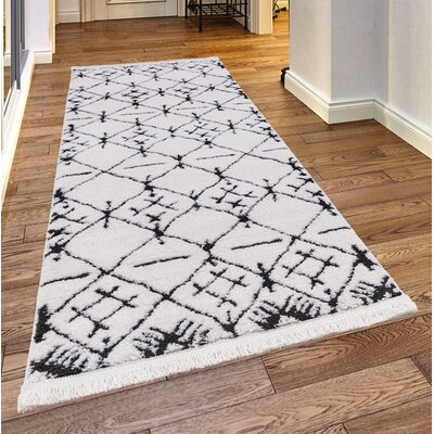 Pilcher White/Charcoal Area Rug Rug Size: Rectangle 23x 72