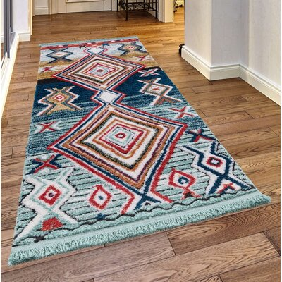 Rheba Light Blue/Orange Area Rug Rug Size: Rectangle 27 x 47