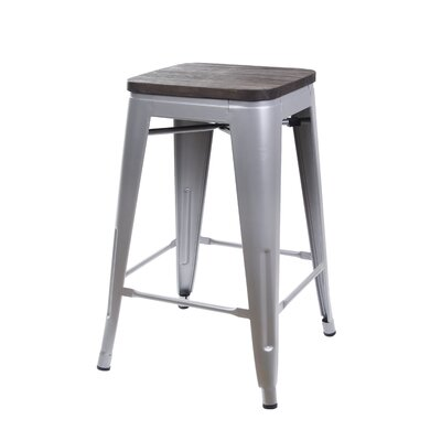 Calanthe 24 Bar Stool Frame Color: Gray, Seat Color: Dark Wood