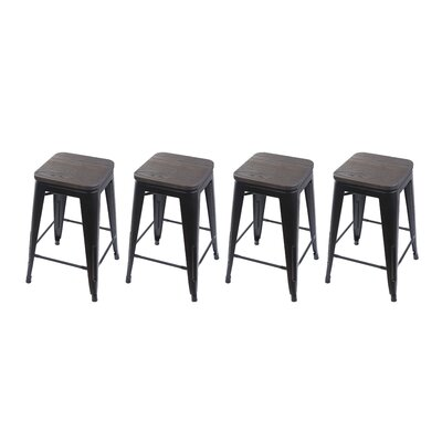 Calanthe 24 Bar Stool Frame Color: Black, Seat Color: Dark Wood