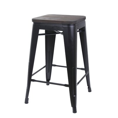 Calanthe 24 Bar Stool Frame Color: Black, Seat Color: Black