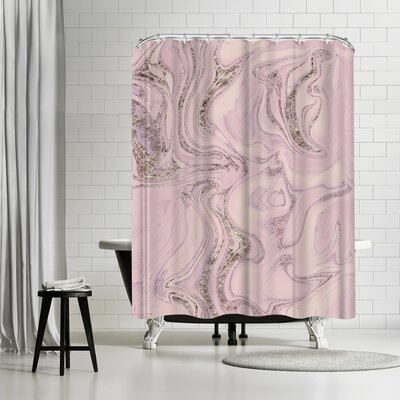 Lebens Art Marble Glitter Shower Curtain