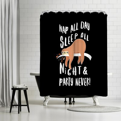 Lebens Art Sloth Party Never Shower Curtain