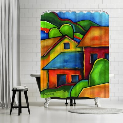 Three Mac Studio Peru Shower Curtain Color: Dark Venetian-Red/Green