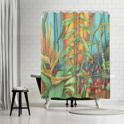 Three Mac Studio Jungle Shower Curtain Color: Light-Blue/Olive-Green/Asparagus