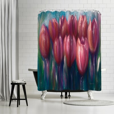 OLena Art Colorful Tulips Shower Curtain