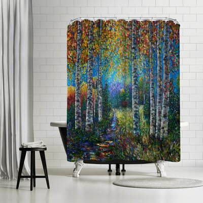 OLena Art Nocturne Blue Palette Knife Lena Shower Curtain