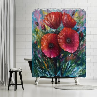 OLena Art Red Poppies Shower Curtain
