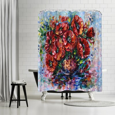 OLena Art Poppies in Vase Shower Curtain