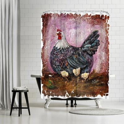 OLena Art Vintage Hen With Chicks Fresco Shower Curtain