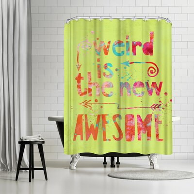 Lebens Art Awesome Weird Shower Curtain Color: Yellow-Green/Sunset-Orange
