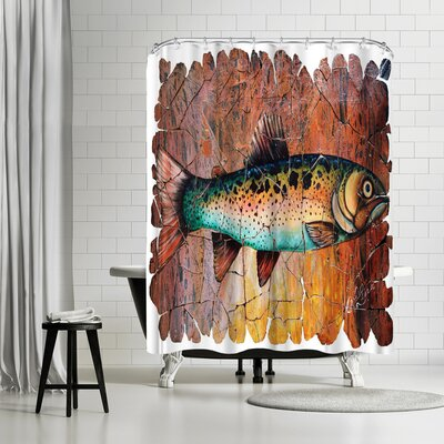 OLena Art Vintage Trout Fresco Shower Curtain
