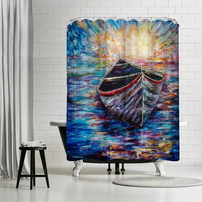 OLena Art Wooden Boat At Sunrise Shower Curtain