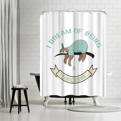 Lebens Art Sloth Unicorn Shower Curtain