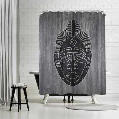 Ikonolexi African Mask Black Shower Curtain Color: Gray/Charcoal-gray/Black