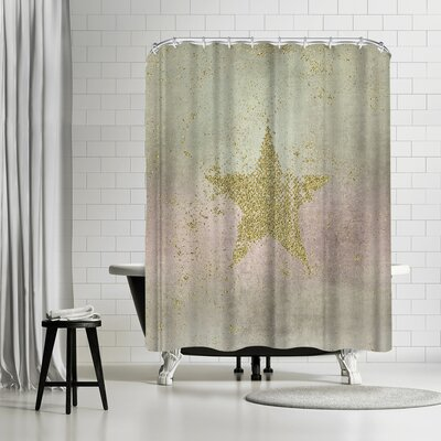 Lebens Art Golden Star Shower Curtain