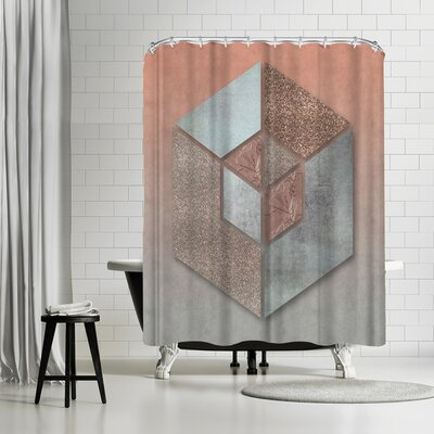 Lebens Art Pastel Salmon Hexagon Shower Curtain