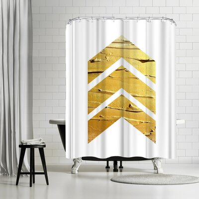 Ikonolexi Chevrons Shower Curtain Color: White/Maize