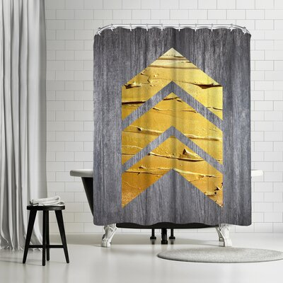 Ikonolexi Chevrons Shower Curtain Color: Silver/Maize