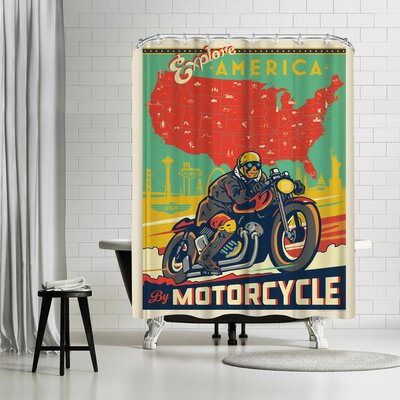 Explore America by Motorcycle Shower Curtain