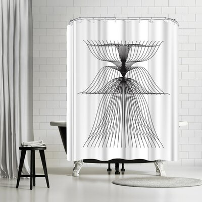 Ikonolexi Linear Flower Shower Curtain