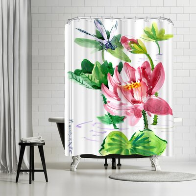 Solveig Studio Dragonfly and Lotus Shower Curtain