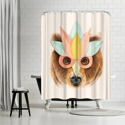 Florent Bodart Bear Paper Mask Shower Curtain