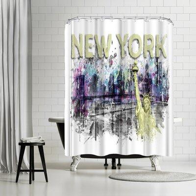 Melanie Viola Modern Art New York City Skyline Shower Curtain Color: White/Gray/Banana Mania/Yellow
