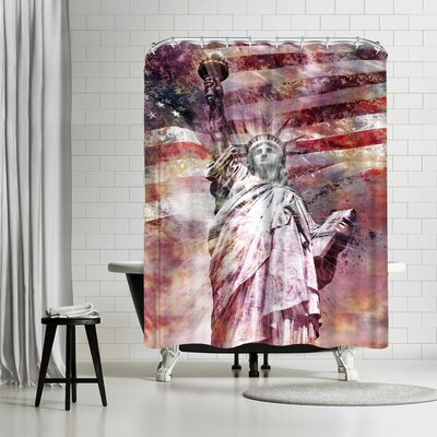 Melanie Viola Modern Art Statue Of Liberty Shower Curtain Color: Silver/Copper/White/Brick/Red