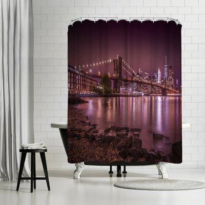 Melanie Viola New York City Nightly Stroll Along the River Bank Shower Curtain