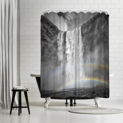 Melanie Viola Iceland Skogafoss Double Rainbow Shower Curtain