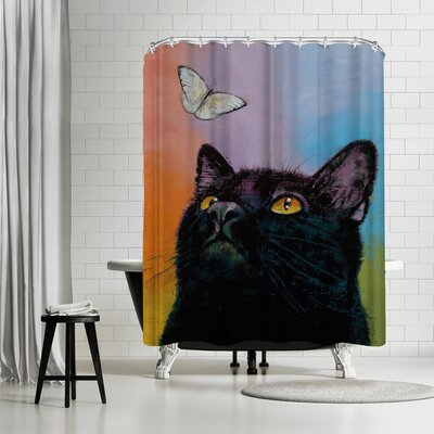 Michael Creese Cat Butterfly Shower Curtain