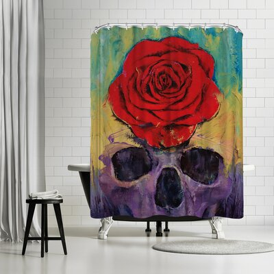 Michael Creese Skull with Rose Shower Curtain