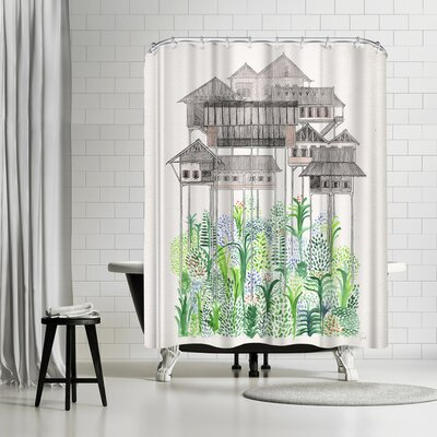 David Fleck Cambodian Stilts Shower Curtain