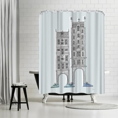 David Fleck Friendly Buildings Shower Curtain